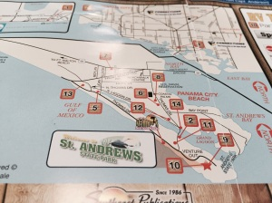 Area map showing St. Andrews SP, Panama City Beach, and Grand Lagoon. You can see that the SP sits at the entrance of Grand Lagoon.
