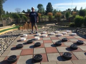 Outdoor checkerboard at RV Resort